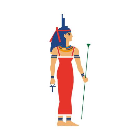 Isis, 고 대 이집트 여신 건강, 결혼, 왕좌 머리 장식, 플랫 만화 벡터 일러스트 레이 션 흰색 배경에 고립에서 지혜. 이시스, 고대 이집트 여신, 전체 길 일러스트