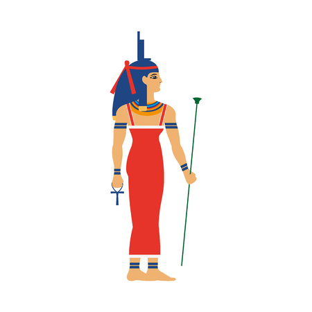 Isis, ancient Egypt goddess of health, marriage, and wisdom in throne headdress, flat cartoon vector illustration isolated on white background. Isis, ancient Egyptian goddess, full length portrait