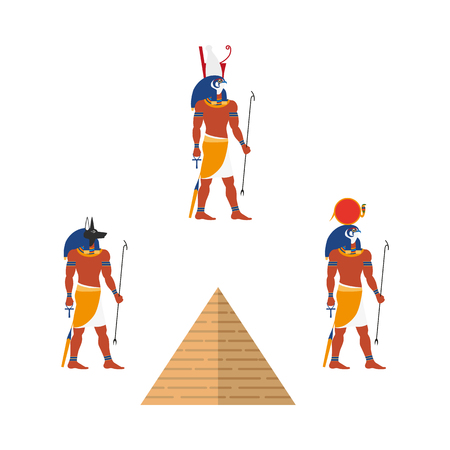 Set of Egypt symbols includes Ra, Isis and Anubis gods and great pyramids in flat cartoon illustration. Illustration