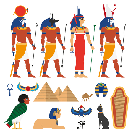 Egypt gods, and sacred symbols set composed of Anubis - god with head of jackal or dog, Amon-Ra supreme god of sun, Horus god of sky, Isis, pyramid, sphinx, camel sarcophagus, scarab icon. Illustration