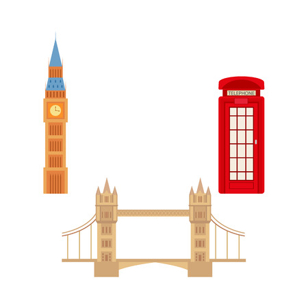 United kingdom, Great Britain symbols set composed of British phone red booth cabin, Tower Bridge and Big Ban Tower of London icon.