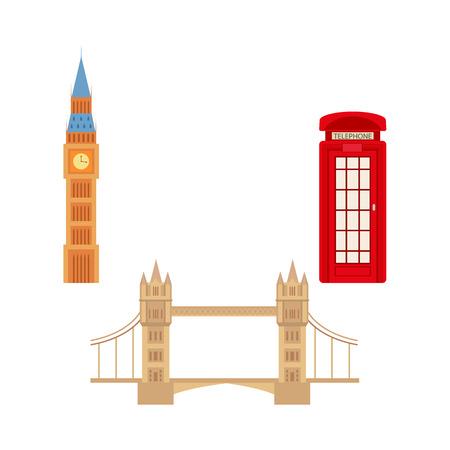 Verenigd Koninkrijk, Groot-Brittannië symbolen set samengesteld uit Britse telefoon rode cabine cabine, Tower Bridge en Big Ban Tower of London pictogram. Stock Illustratie