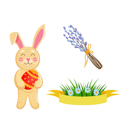 Vector flat hand drawn Raster holiday symbols set. Hare, rabbit character holding Easter decorated egg, spring banner with grass and daisy flowers willow twigs.