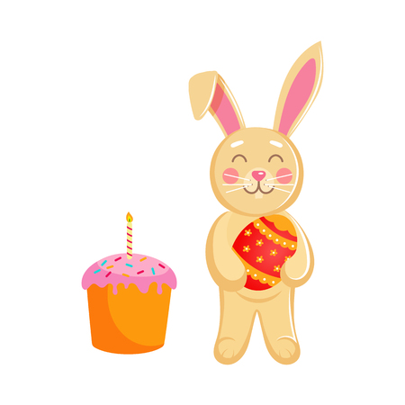 Vector flat hand drawn hare, rabbit character holding Easter decorated egg smiling near Easter cake with candle. Isolated illustration on a white background.