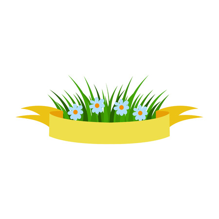Vector flat Easter holiday, spring banner, poster with green fresh grass, white flowers and yellow ribbon. Isolated illustration on a white background. Illustration