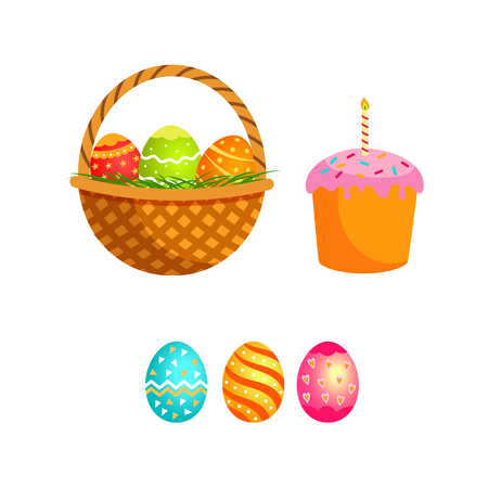 Vector flat hand drawn easter holiday symbols set. Easter colored festive decorated eggs, wicker basket with eggs and easter cake with candle. Isolated illustration white background.