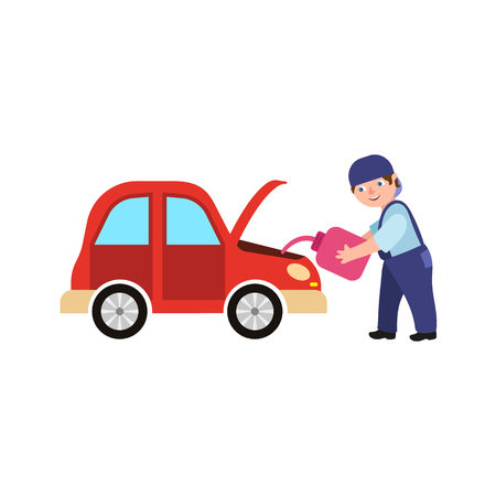 Vector flat adult man mechanic in blue uniform changing replacing car oil holding oil canister in open hood. Illustration