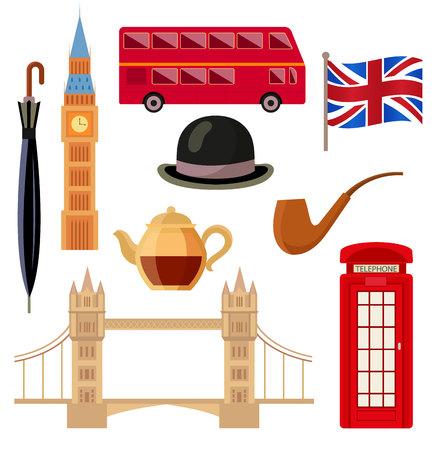 London, England set - Big Ben, Tower Bridge, double-decker bus, red telephone box, British flag, pipe, teapot, bowler hat, umbrella, flat vector illustration isolated on white background. English set