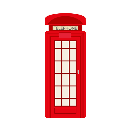 Vector flat british red phone booth icon. isolated illustration on a white background. England national traditional cultural symbol for logo, brand menu deisgn Illustration