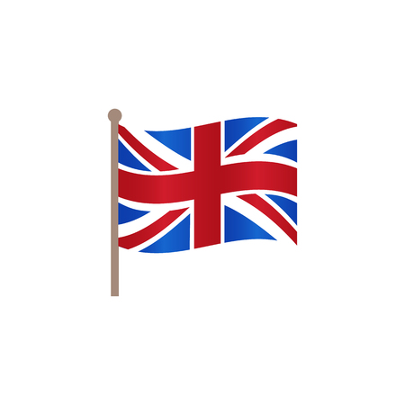 Vector flat Great Britain, United Kingdom union jack flag icon. Illustration on a white background. English national cultural state symbol for your design.