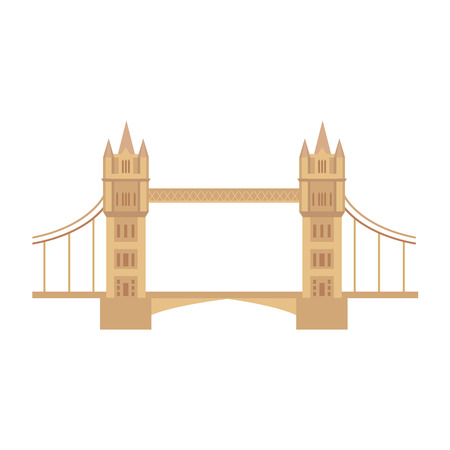 vector flat Tower Bridge of London icon isolated. United kingdom, great britain, national english traditional symbol, architecture landmark building. Isolated illustration on a white background.