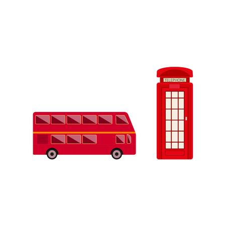 Vector plana conjunto de símbolos do Reino Unido, Grã-Bretanha. Cabine de telefone vermelho britânico, ícone de ônibus de dois andares. Ilustração em um fundo branco. Foto de archivo - 92189676