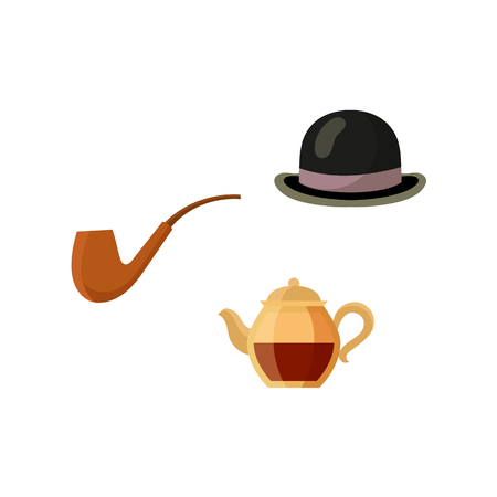 Vector flat british gentleman symbols icon set. English tea in ceramic teapot, hat and smoking pipe. Isolated illustration on a white background. Ilustração