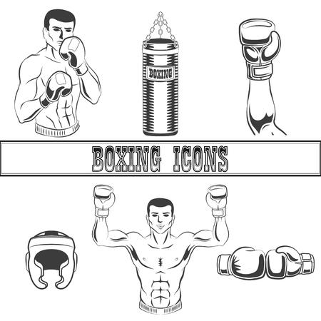 Vector flat boxing sport club icon set. Illustration on white background. Illustration