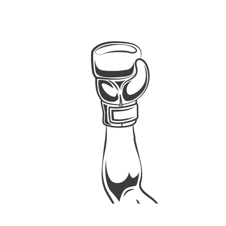 Vector man hand raising up in winner pose in boxing glove, black and white monochrome icon. Isolated illustration on a white background. Illustration