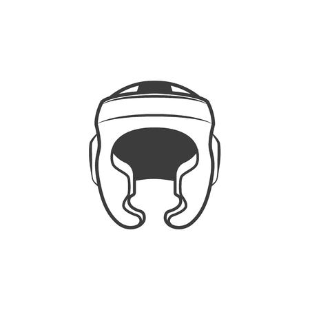 Icona monocromatica colorata monocromatica dell'attrezzatura sportiva del casco di pugilato piano di vettore. Illustrazione su uno sfondo bianco. Archivio Fotografico - 92189684