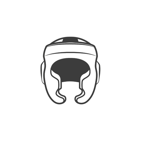 Vector flat boxing helmet black and white colored monochrome sport equipment icon. Illustration on a white background.