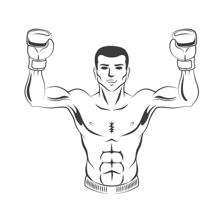 Vector muscular strong handsome boxer man bare torso and chest standing with hands in boxing gloves raised up smiling like winner black and white icon.