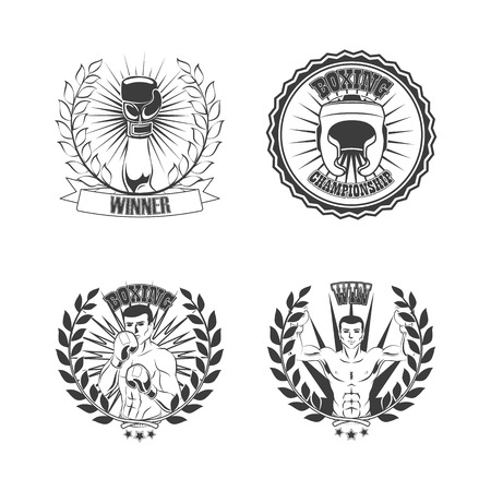 Vector flat boxing sport club logo icon set. Boxing helmet, boxer man standing in fight and winner position in laurel wreath, hand in glove black and white colored monochrome . isolated illustration Imagens - 92128747