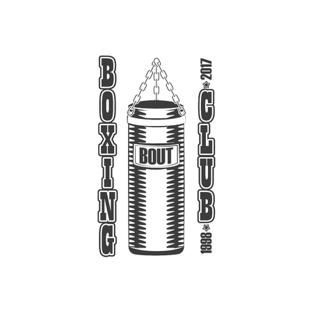 Boxing, fight club icon template with punching, heavy bag hanging on chains. Illustration on white background. Illustration