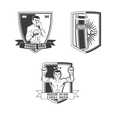 Set of boxing, fight club icon templates with male figure and glove punching heavy bag. Illustration isolated on white background.