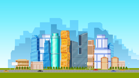 City, urban scene with low and high rise buildings, skyscrapers and road with cars, flat vector illustration. Daytime cityscape, downtown scene with road, transport and city skyline in background Çizim