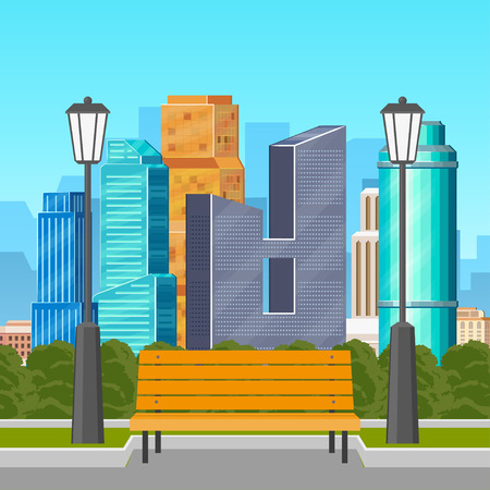 Park bench and streetlamps with city skyline on background, flat vector illustration. Quiet place in a busy city - park bench and streetlights with busy cityscape, skyscrapers, business centers behind