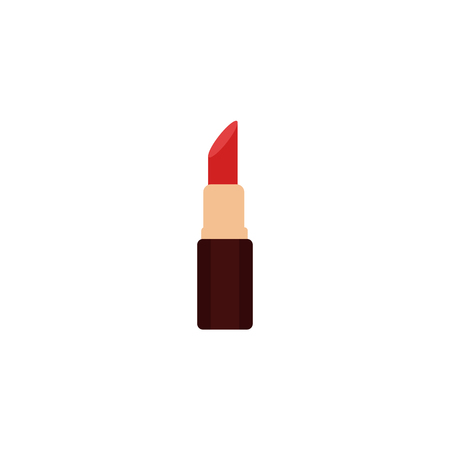 Open red lipstick standing vertically, fashion accessory. Flat cartoon illustration  on white background.