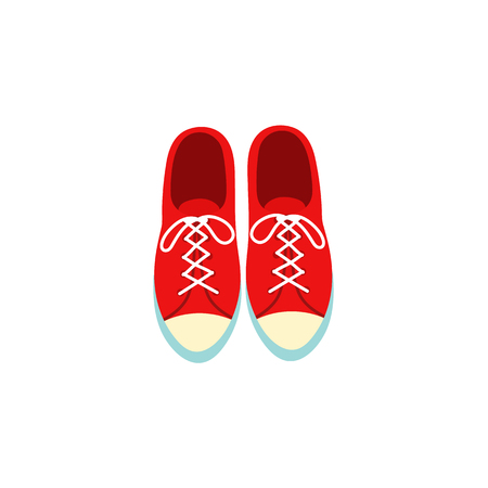 Pair of classic red canvas sneakers, kids, gym shoes, trainers with laces, top view. Cartoon illustration isolated on white background. Stok Fotoğraf - 92189692