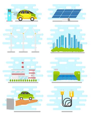 Vector flat renewable, alternative energy icon set illustration. Çizim