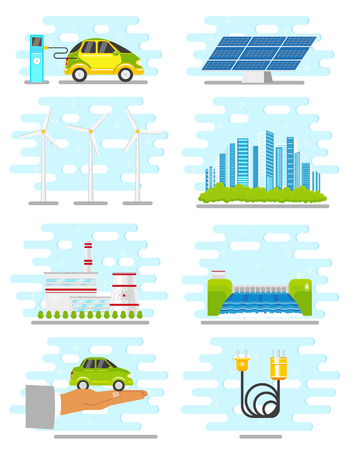 Vector flat renewable, alternative energy icon set illustration. Vectores