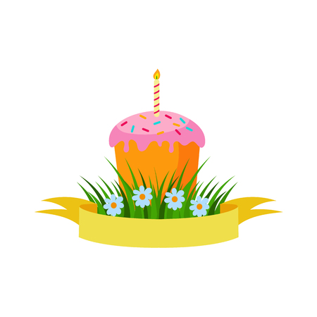 Vector flachen Ostern-Feiertag, Frühlingsfahne, Plakat mit grünem frischem Gras, Ostern-Kuchen der weißen Blumen mit Kerze und gelbes Band. Vektorgrafik