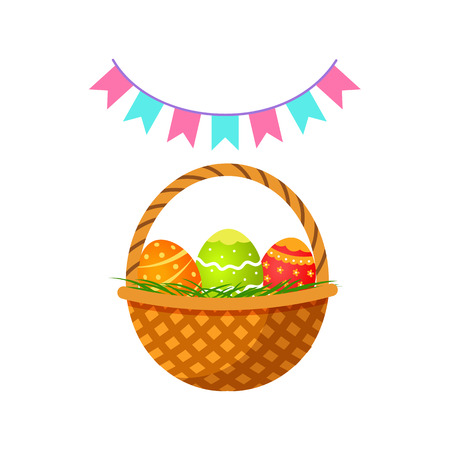 Vector flat hand drawn Easter holiday symbols set. Easter decorated egg in wicker basket, spring flags, pennant garland banner.