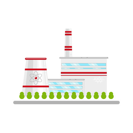 Nuclear power plant, alternative energy source, concept of atom for peace. Flat icon style illustration on white background.