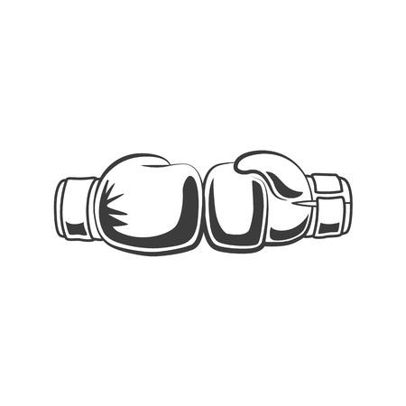 ベクトルボクシング2つの手袋は、お互いに黒と白のモノクロアイコンを束ねています。白い背景に分離されたイラスト。