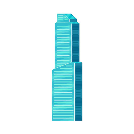 Skyscraper, business center, high rise office building. Flat illustration isolated on white background.