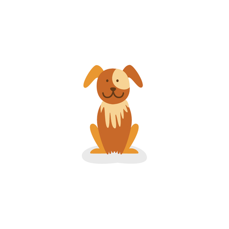 Vector flat stylized cute brown puppy funny dog sitting icon. Animal character smiling. Isolated illustration on a white background. Illustration