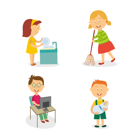 Vector flat kids doing household chores set. Girl washing dishes, another girl sweeping the floor by broom, boy working at desktop computer, another one holding newborn baby.