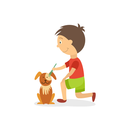 Vector flat style boy kid combing out, grooming dog brown puppy. Isolated illustration on a white background. Daily routine, household chores concept.