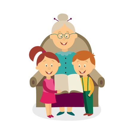 Vector flat cartoon grandfather with girl and boy kids sitting at his knees reading book together at armchair. Isolated illustration on a white background.