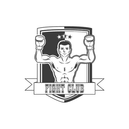 Vector boxing club icon brand with muscular strong boxer man bare torso standing with hands in boxing gloves raised up smiling like winner black and white.