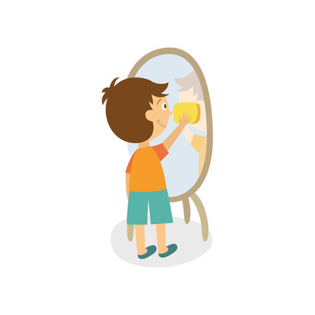 Vector flat boy kid cleaning mirror in hallway wiping it by rag. Household chores. Isolated illustration on a white background. Daily children routine concept.