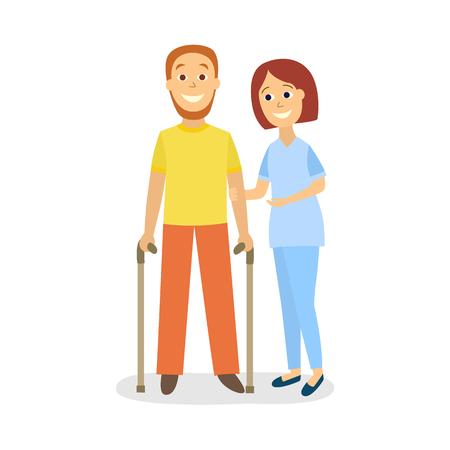 벡터 평면 여자 의사 physiotherapist cannt, 목발의 수단으로 걸어 운동 제한 남자 환자를 수 있습니다. 물리적 재활 치료 장면.