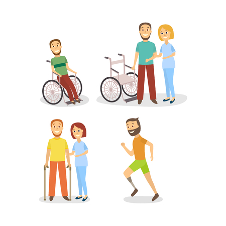 Vector flat rehabilitation scenes set. women physiotherapist helps men patient with restriction of movement, another man sitting in wheelchair and running with foot prosthesis.