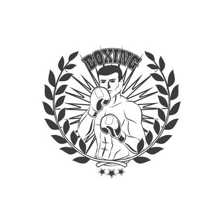 vector boksclub, merkpictogram met gespierde sterke knappe man blote torso en borst in boksstand met bokshandschoenen zwart en wit met lauwerkrans.