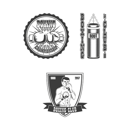 Vector flat boxing sport club logo icon set. punching bag, boxer man standing fight position, gloves punching each other black and white.