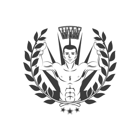 Vector boxing club, brand icon with boxer man bare torso standing with hands in boxing gloves raised up like winner black and white with laurel wreath and king crown.
