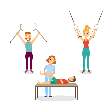 Vector flat rehabilitation scenes set. woman physiotherapist working with man patient with restriction of movement, another man and woman raising hands with crutches up. Isolated illustration
