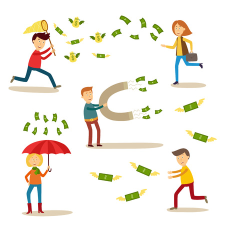 Vector flat people catching money scenes set. Men and women catching money by butterfly net, running for dollars, attracting it my magnet standing under money rain with umbrella.