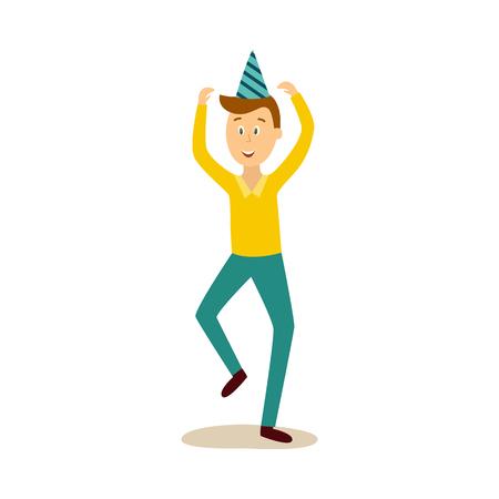 ベクトル漫画面白い若い白人男性パーティー帽子、カジュアルな服とデニムジーンズは手を上げて踊ります。白い背景に分離されたイラスト。